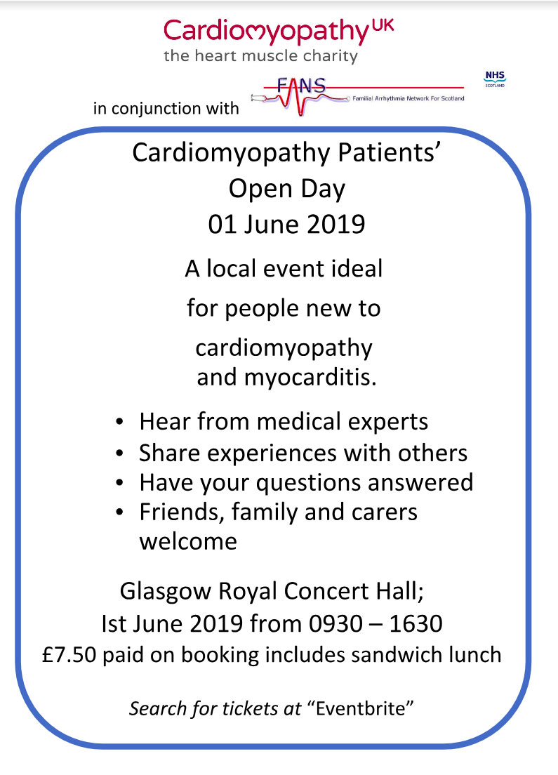 Cardiomyopathy open day flyer